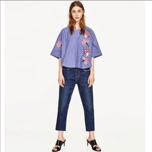 Zara Floral Embroidered Striped Oversized Tunic M